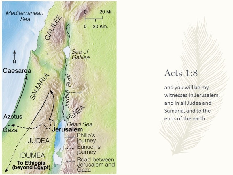 Jerusalem Judea Samaria And The Ends Of The Earth Map.Acts 8 Chasing The Wind